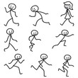 Strichmännchen, laufend, rennend
