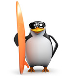 3d Penguin with his super cool surfboard