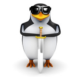 3d Penguin and a rather mean looking sword