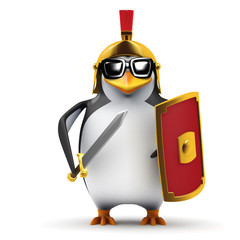 3d Penguin Centurion stands guard