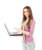 Woman with a laptop computer - isolated over a white background