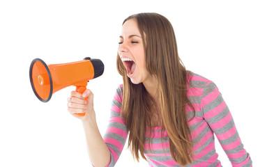 beautiful brunette woman shouting through megaphone