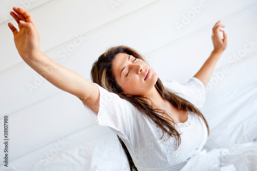 Lazy woman yawning