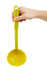 Small teflon ladle in his hand
