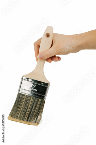 Large paint brush with a wooden handle
