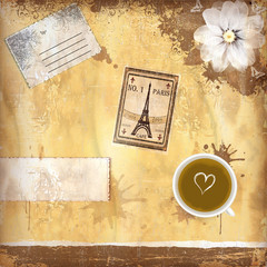 Grungy French coffee background