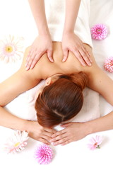 young woman getting a massage