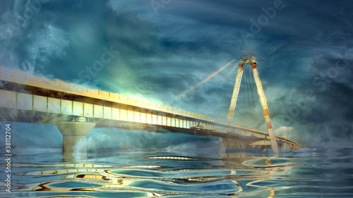 bridge i chmury odbicie w wodzie