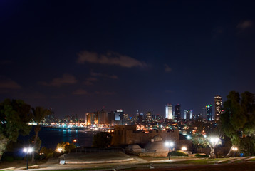 Night view of Tel Aviv seaside, Israel
