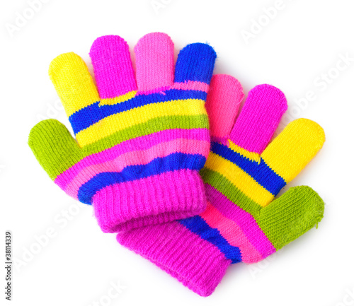 bright striped baby gloves isolated on white