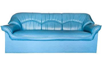 Blue leather sofa isolated on white