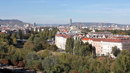 Skyline vienna with danube canal and Kahlenberg
