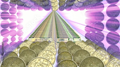 Coins frame and paper currency with Violet Ray