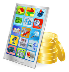 Phone or tablet PC money concept