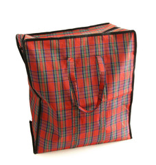 Red tartan bag isolated on white