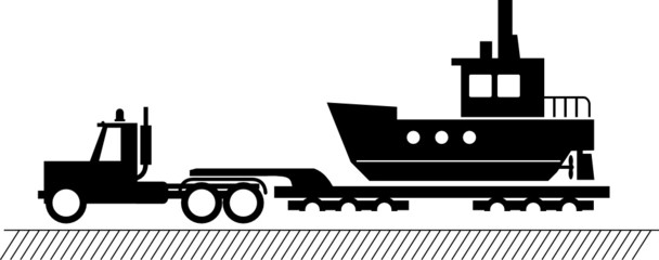 Truck delivers the boat, vector illustration