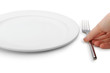 The hand puts fork to a plate