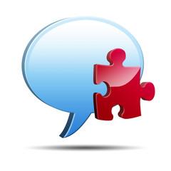 Icono comentario 3D con simbolo plugin