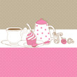Cute vector card with tea cap, pot and sweet cupcake