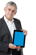 business man with modern tablet pc, Touch pad , smart phone