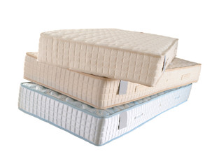 three mattresses isoltad on white background