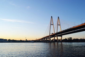 Cable-stayed bridge before sunset