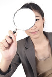 woman and magnifying