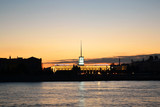Finland Station and Neva river before sunset poster