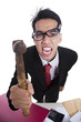 Angry businessman with hammer