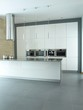 Stylish modern kitchen interior in white and grey