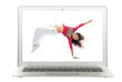 Modern popular laptop with woman dancing dancer