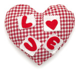 Pillow red and white heart shaped