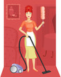 A woman with a vacuum cleaner