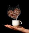 Caffè caldo con cuore