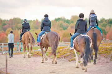 female group riding