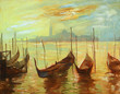 gondolas on landing stage in venice. painting