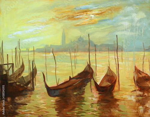 gondolas on landing stage in venice. painting