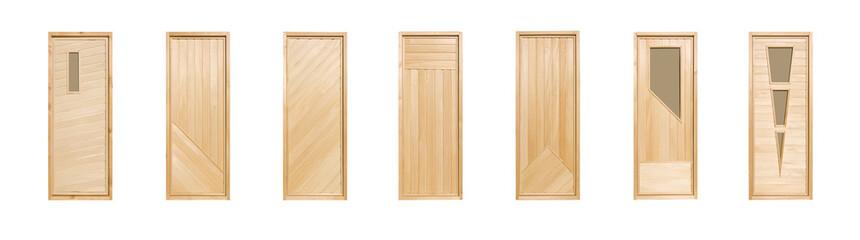 Wooden doors (linden) isolated