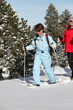 Mature couple snowshoeing