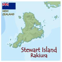 stewart island new zealand map flag emblem