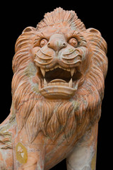 Lion Statue, Isolated on black background.