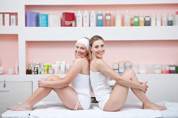Women having fun at spa