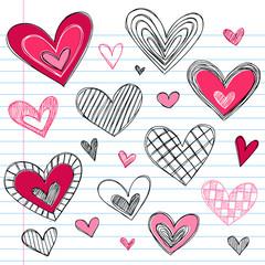 Hearts Sketchy Doodles Vector Illustration