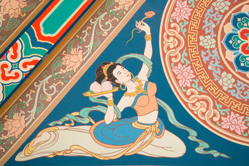 painting angel  on chinese temple roof