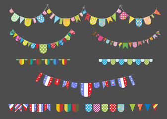 set of colorful buntings