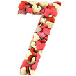 Number Seven, made from soft cushions in the shape of Hearts. Is