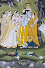 old  miniature painting ,  Lord Krishna, Rajasthan, India