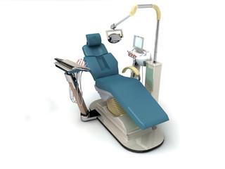 studio sedia poltrona dentista illustrazione 3d fondo bianco