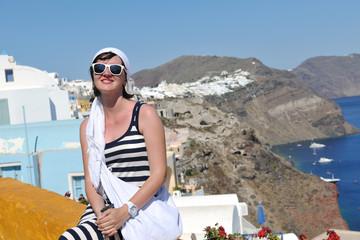 Greek woman on the streets of Oia, Santorini, Greece