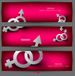 Abstract vector banners with male female symbol